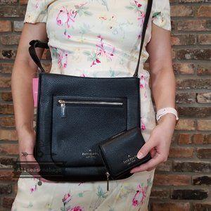 Kate Spade Top Zip Crossbody LEILA Wallet SET BLAC